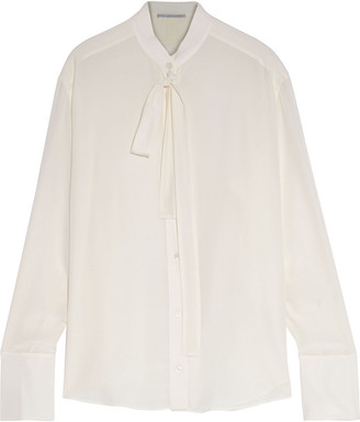 Stella McCartney Pussy-bow Silk Crepe De Chine Shirt