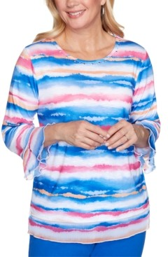 Alfred Dunner Laguna Beach Watercolor Biadere Knit Top
