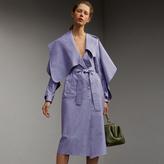 Burberry Cotton Chambray Sculptural Wrap Dress