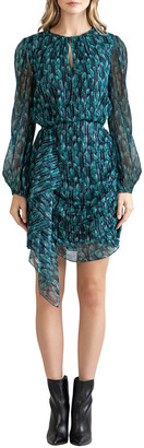 Shoshanna Essex Dot Ivy Side-Drape Blouson-Sleeve Dress