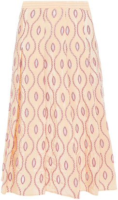 Marni Belted Cutout Metallic Embroidered Taffeta Skirt