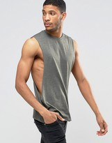 Asos Sleeveless T-shirt With Extreme Dropped Armhole In Khaki