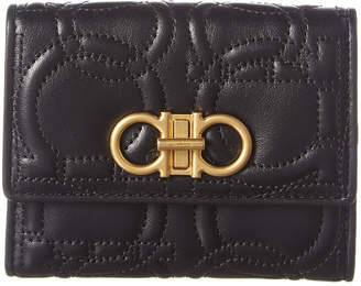 Salvatore Ferragamo Gancini Quilted Leather French Wallet