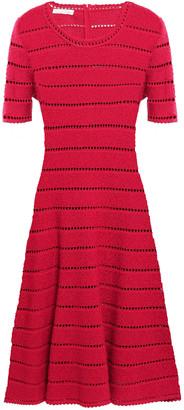 Oscar de la Renta Pointelle-trimmed Metallic Boucle-knit Dress
