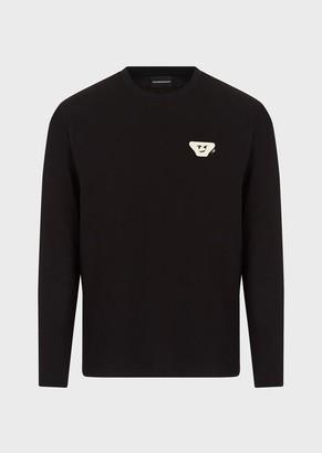 Emporio Armani Jersey Sweater With Emoji Patch