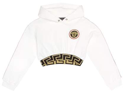 Versace Embroidered cropped cotton hoodie