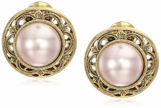 1928 Jewelry Women's Gold Tone Faux Pearl Round Button Clip Earrings