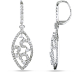 Julie Leah 2 CT Diamond Dangle Earrings in 14K White Gold with Lever Back