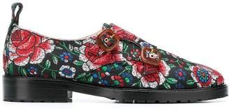 Leandra Medine jacquard monk strap loafers