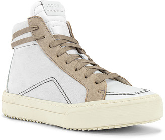 Rhude V1-Hi Sneaker in White Leather & Grey Suede & Brown White | FWRD