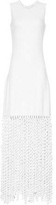 Rosetta Getty Fringed Crochet-knit And Jersey Maxi Dress