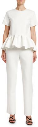 MSGM Blusa Short-Sleeve Peplum Blouse