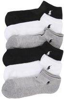 Polo Ralph Lauren Ladies 6-Pack Classic Cotton Sport Socks Shoe Size 4-10.5 (Grey )