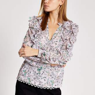 River Island Pink printed frill long sleeve blouse
