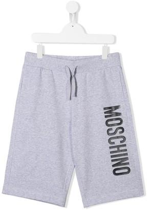 Moschino Kids TEEN logo-print track pants shorts