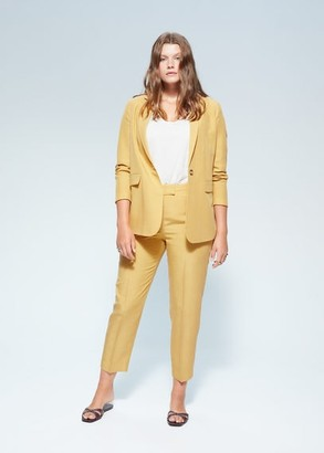 MANGO Violeta BY Linen blazer suit mustard - L - Plus sizes