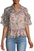 KENDALL + KYLIE Short-Sleeve Floral Ruffle Blouse