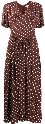 ALEXACHUNG Vivian Gathered Tie polka-dot dress