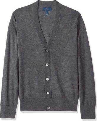 Buttoned Down Men's Italian Merino Wool Cardigan Dark Grey Large