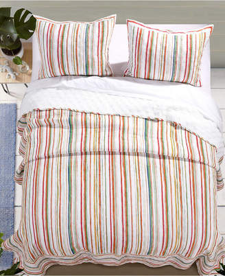 Greenland Home Fashions Sunset Stripe Quilt Set, 3-Piece Full/Queen