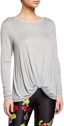 Terez Twist-Front Long-Sleeve Active Top