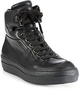 Jil Sander Navy Leather High-Top Platform Sneakers