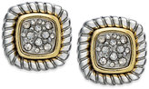 Charter Club Two-Tone Crystal Pavé Textured Stud Earrings
