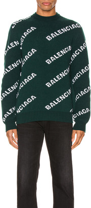 Balenciaga Long Sleeve Crewneck in Forest Green & White   FWRD