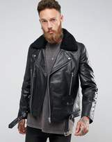 Asos Leather Biker Jacket With Borg Collar In Black