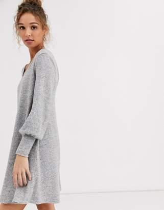 Asos Design DESIGN Long sleeve super soft mini smock dress-Gray