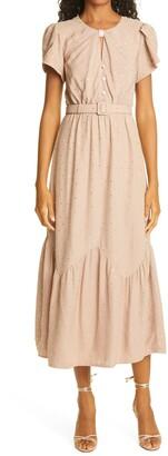 Self-Portrait Diamante Ruffle Sleeve Crepe Dress