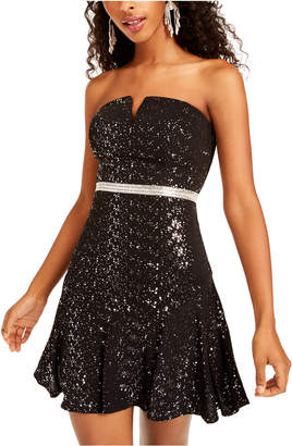 City Studios Juniors' Sequined Strapless Fit & Flare Dress
