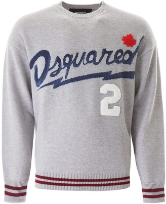 DSQUARED2 SWEATER WITH LOGO EMBROIDERY L Grey, Blue, Red Wool, Cotton