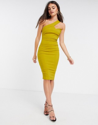 Vesper one shoulder midi pencil dress in ochre