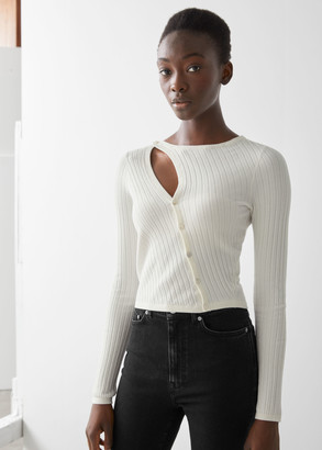 And other stories Fitted Asymmetric Button Up Knit Cardigan