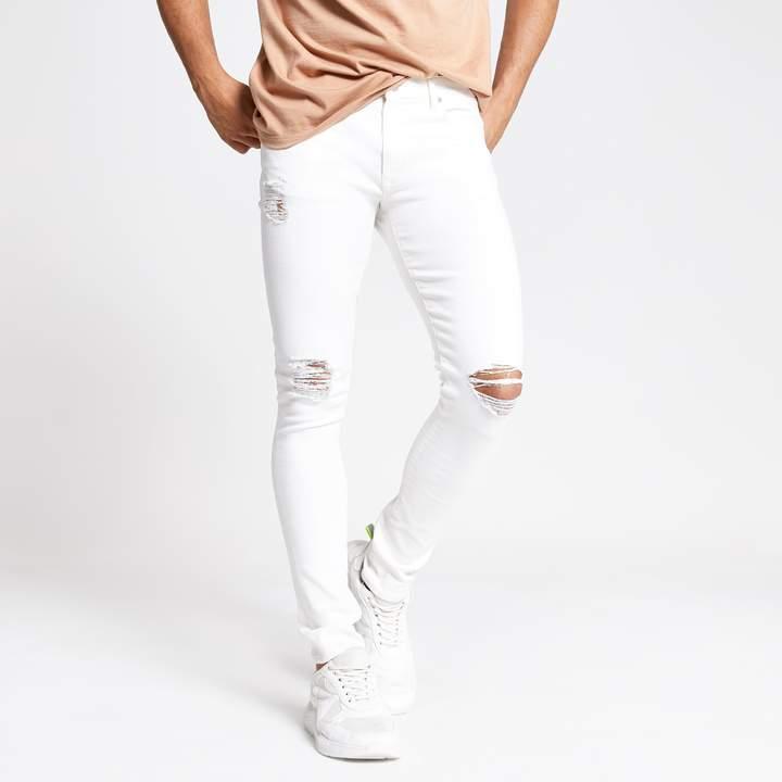 River Island Mens White Danny super skinny ripped jeans