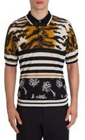 Dolce & Gabbana Animale Printed Silk Polo