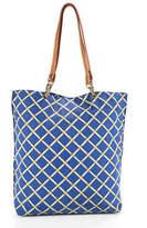J.Mclaughlin J. Mclaughlin Blue Cotton Graphic Printed Large Tote Handbag