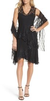 Komarov Women's Circle Lace Tiered Dress With Wrap