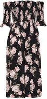 Topshop Floral Shirred Bardot Dress