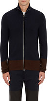 Paul Helbers Men's Rib-Knit Cashmere-Blend Zip-Front Sweater-NAVY, BROWN