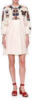 Valentino Embroidered Bishop-Sleeve Tunic Dress, White