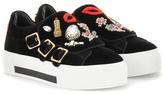 Alexander McQueen Embellished Velvet Sneakers