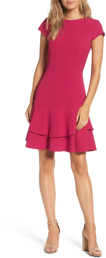 Eliza J Stretch Ruffle Crepe Sheath Minidress