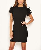 AX Paris Women's Special Occasion Dresses Black - Black Fringe-Accent Bodycon Dress - Women