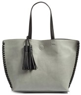 Phase 3 Whipstitch Tassel Faux Leather Tote - Grey