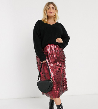 Lost Ink Plus high waist midi skirt in all over sequin