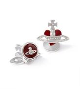 Vivienne Westwood Diamante Red Heart Cufflinks in Pewter