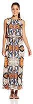 London Times Women's Petite Folkloric Shield Blouson Maxi Dress