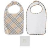 White & Check Baby Bib Gift Set (2 Piece)